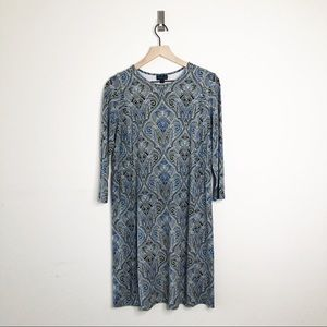 J. JILL WearEver A Line Dress in Blue Paisley S